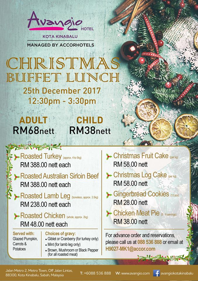 Christmas Buffet Lunch On 25 December 2017 At RM68nett Per Person
